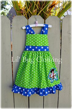 Custom Boutique Clothing Toy Story Woody Lime and Blue Polka Dots Jumper Dress Birthday