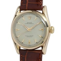 Rolex Yellow Gold Oyster Perpetual Bombe Wristwatch Ref 6090 circa 1950s