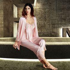 Silk Blend Gorgeous Women Sleepwear Lace Sleep Tops Pants Robe Pajama Sets  Gifts. Satin SleepwearSatin PajamasSleepwear WomenPyjamasNightwearRopa SexyPink  ... e9f8d34d6