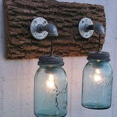 Wood Rustic Mason Jar Light 2-Jars