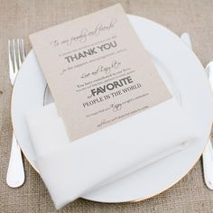 I love the sentiment expressed on these menus! A nice alternative to thanking guests in your wedding program!