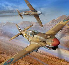 1941 P-40 Kittyhawk vs Bf109F - Arkadiusz Wróbel Curtiss P-40E Kittyhawk MkI RAF 112Sqn GA F Neville Duke AK675 Egypt 1941