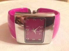 New Geneva  Pink Bangle Cuff Watch #Geneva #Fashion