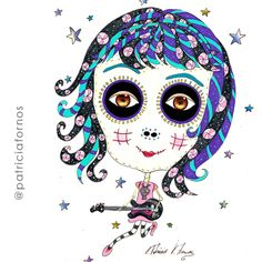 Rock girl, mexican Skull, by Patricia Fornos