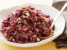 Asian Red Cabbage Slaw With Peanuts #GrillingCentral