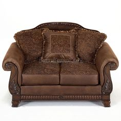 Bradington - Truffle Upholstered Loveseat by Ashley Furniture Living Room Sets, Living Room Decor, Leather Sofa And Loveseat, Wingback Armchair, Retro Sofa, Classic Sofa, Nebraska Furniture Mart, Western Furniture, Tuscan Decorating