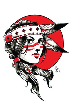 Hollywood Indian Tattoo Art Print by BrianKellyArmy on Etsy
