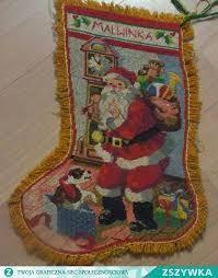 Znalezione obrazy dla zapytania skarpeta świąteczna haft