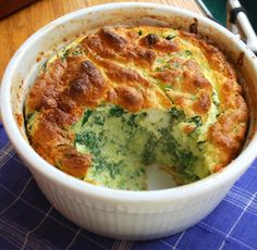 Spinach Souffle with Leeks and Comte' Cheese