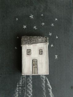 House of cloth with gray roof small house by BLUSTUDIOshop on Etsy