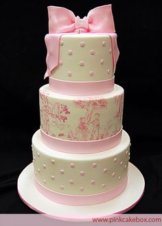 PCB Pink Toile Baby Shower Cake