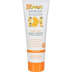 Andalou Naturals Fruit Stem Cell Science renews skin at the cellular level, blending nature and knowledge for visible results. Harmonizing mandarin vanilla, organic aloe vera, apricot and sunflower oi