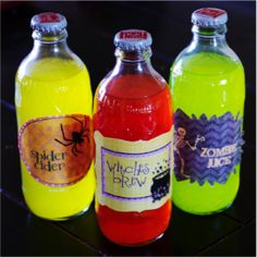 Printable labels for this spook-tacular drink! Just buy some colored drinks that come in glass bottles and add the labels! :)