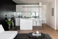 White Apartment, One Bedroom Apartment, Parquetry Floor, Warehouse Apartment, California Bungalow, Timber Walls, Victorian Terrace, Australian Homes, White Tiles