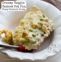 Creamy Cashew Veggie Pot Pie. Flaky Biscuit Crust. Comfort Food. | #vegan #recipe via @Kathy Patalsky of Healthy. Happy. Life.