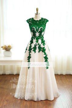 Green lace long prom dress, green bridesmaid dress, evening dress