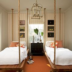 Hanging Out    Typically reserved for the porch, hanging beds command attention when installed indoors.     Idea Spotlight   Teak platforms suspended from heavy-gauge rope play up a nautical look and create sleeping quarters your guests will fight over. You'll need to attach the ropes to sturdy beams or studs, so be sure you have the support before you buy the materials.