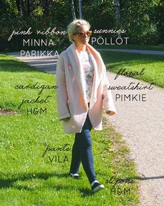 minna parikka pink ribbon pöllöt sunnies sunglasses hm cardigan jacket pimkie floral sweatshirt vila pants navy marine slip-on slipon sneakers black outfit how to wear