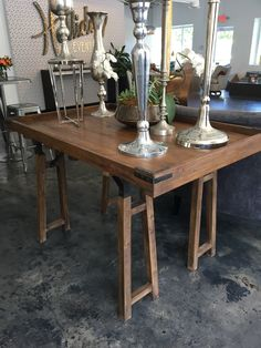 "Whether it's farm to table, or custom catering, this ""Tray Table"" with iron detailing and open legs makes the perfect food serving table or accent piece at your next event!"