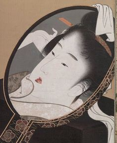 """Katsushika Hokusai, Japanese, 1760–1849 Woman Looking at Herself in a Mirror Kyômen bijin zu 鏡面美人図 91 1/8"""" x 31 9/16"""" (Image: 54 5/8"""" x 22 5/8"""") ink, color, gold, and mica on silk c.1805  detail"""