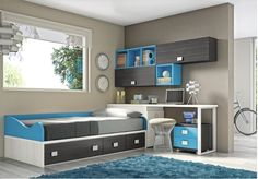 Dormitorio juvenil / Youth bedroom http://bit.ly/13SP6vD #muebles #Málaga