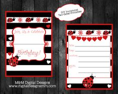 DIY Printable Red Ladybug Birthday Invitation INSTANT DOWNLOAD
