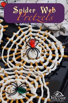 You don't want to get caught in this Spider Web, or do you? Making a fun and easy Halloween Pretzel Treat is so fun and you will love adding a creepy spider into the web of melted white candy wafers on pretzel sticks for a fun Halloween Treat. #devourdinner #devourpower #easyrecipe #recipeoftheday #YummyInMyTummy #onmyplate #foodtime #huffposttaste #foodforthought #abmfoodie #beautifulcuisine #foodblogfeed #foodanddrink #feastgrams #barereaders #foodblogeats #beautifulfood #halloweenPretzelTreat Halloween Pretzels, Fun Halloween Treats, Halloween Drinks, Homemade Halloween, Halloween Food For Party, Halloween Ideas, Dessert Ideas, Dessert Recipes, Desert Recipes