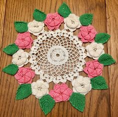 Vintage Hand Crocheted Raised Pink & White Roses With Green Leaves Doily 11"