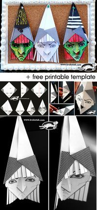 3D Witch with a template for print halloween diy kids crafts