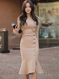 Light apricot fishtail women s sheath dress Simple Dresses, Dresses For Teens, Elegant Dresses, Pretty Dresses, Beautiful Dresses, Casual Dresses, Dresses For Work, Classy Dresses For Women, Office Dresses