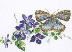 Common Blue Butterfly & Clematis Cross Stitch Kit 438A/TG