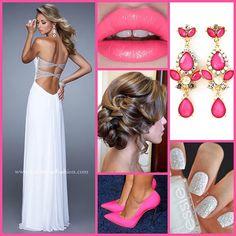 La Femme 21461 ~ long white dress ~ cut outs ~ open back ~ sweetheart neckline ~ net jersey dress ~ prom updo ~ pink heel ~ bold lip~ nail inspo ~ prom 2015 ~
