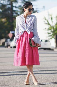 4.15 what to wear: spring wedding guest (Free People bell sleeve blouse + Donna Morgan pink dress + Celine nude pumps + Valentino clutch + Karen Walker sunnies + Auden pearl earrings)