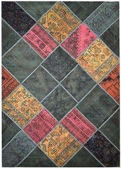 6x8 #Handmade Persian #Antique #Rug  BRIGHT COLORS - Handcrafted from rugs of similar colors that stitched together in a compelling patchwork design. With its lower pile rug is thoroughly washed to create a vintage-inspired work of art for the floor and it evokes the look and feel of a cherished heirloom handed down for generations.