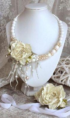 Jewelry Crafts, Jewelry Art, Wedding Jewelry, Beaded Jewelry, Handmade Jewelry, Fashion Jewelry, Jewelry Design, Beaded Necklace, Handmade Leather