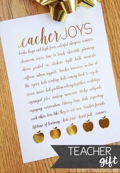 Treat Yourself or a Teacher Friend! Gorgeous gold foil prints. Frame it, clip it, hang it with a magnet.  Enjoy!  xo, April from A Modern Teacher