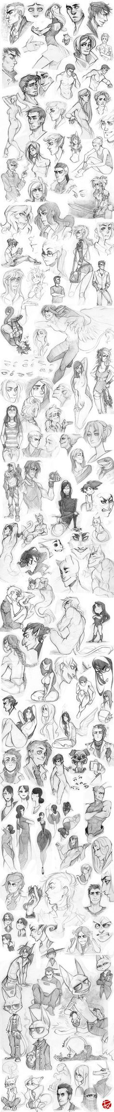 I had lots of unpublished sketches so I decided to gather them all in one place. Those on the top are older and while you'll going down they'll get younger > u > Making sketch dumps is really...