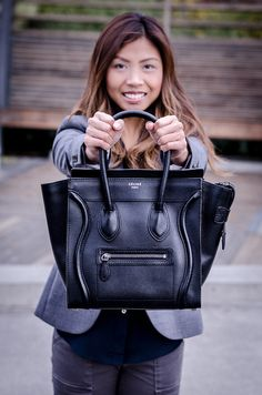 Meet Pebbles- she's a Celine micro luggage with pebbled leather in black with silver hardware. Born in France, adopted in NYC