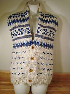 Nomad All Wool Ecuador Outerwear Knit Vest Blue Gray Off White Tan Warm