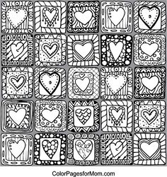 Quilt Hearts Adult Coloring Page