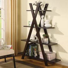 Coaster Fine Furniture Cappuccino 59-in 4-shelf Ladder Bookcase 800267