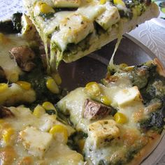 Spinach Pizza - Indian Style