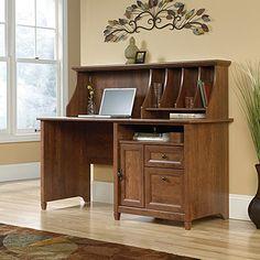 sauder edge water computer desk with hutch in auburn cherry