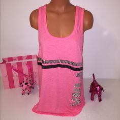 NEW L PINK VS BLING TANK PINK VICTORIA'S SECRET MUSCLE TANK MUSCLE TANK WITH SEQUINED LEGENG DETAILS COLOR CORAL AND SEQUINS SILVER AND BLACK SIZE L  FASTSHIPPING!!!  Check out my other items! I am sure you will find something that you will love it! Thank you for watch!!!!! Be sure to add me to your favorites list! PINK Victoria's Secret Tops Muscle Tees