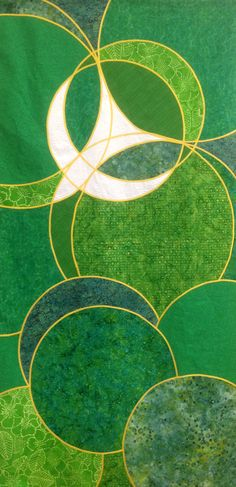 It's striking how the dove is formed from a trinity of circles. Green dove banner of cotton, batik, and silk dupioni.
