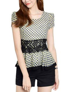 Patterned Lace Waist O-Neck Slim Short Ruched Sleeve Tee Shirt For Lady on buytrends.com