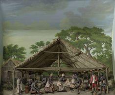 Diorama van een slavendans, Gerrit Schouten, 1830. In de danstent is een du gaande, een rollenspel met muziek en dans dat werd opgevoerd op de plantages. Zowel de spelers als de toeschouwers waren slaven. De hoofdrol was voor de afrankeri, de vertelster van het verhaal (de vrouw uiterst links). De man in het rode pak rechts speelt de koning.