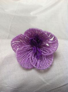 Bead flower orchid large, lila-purple, for sale at ellensbeadflowers.webs.com