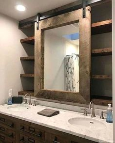We have collecting this 50 fabulous modern farmhouse bathroom vanity ideas to inspire you. Sometimes all you need for a farmhouse bathroom is a consistent theme. This bathroom creates a bright space due to the use of white color walls . Farmhouse Bathroom Mirrors, Modern Bathroom Mirrors, Bathroom Mirror Design, Rustic Bathrooms, Diy Bathroom Decor, Bathroom Layout, Bathroom Interior Design, Small Bathroom, Bathroom Cabinets