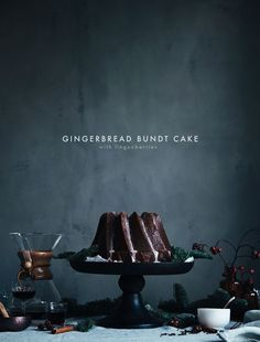 GINGERBREAD BUNDT CAKE WITH LINGONBERRIES
